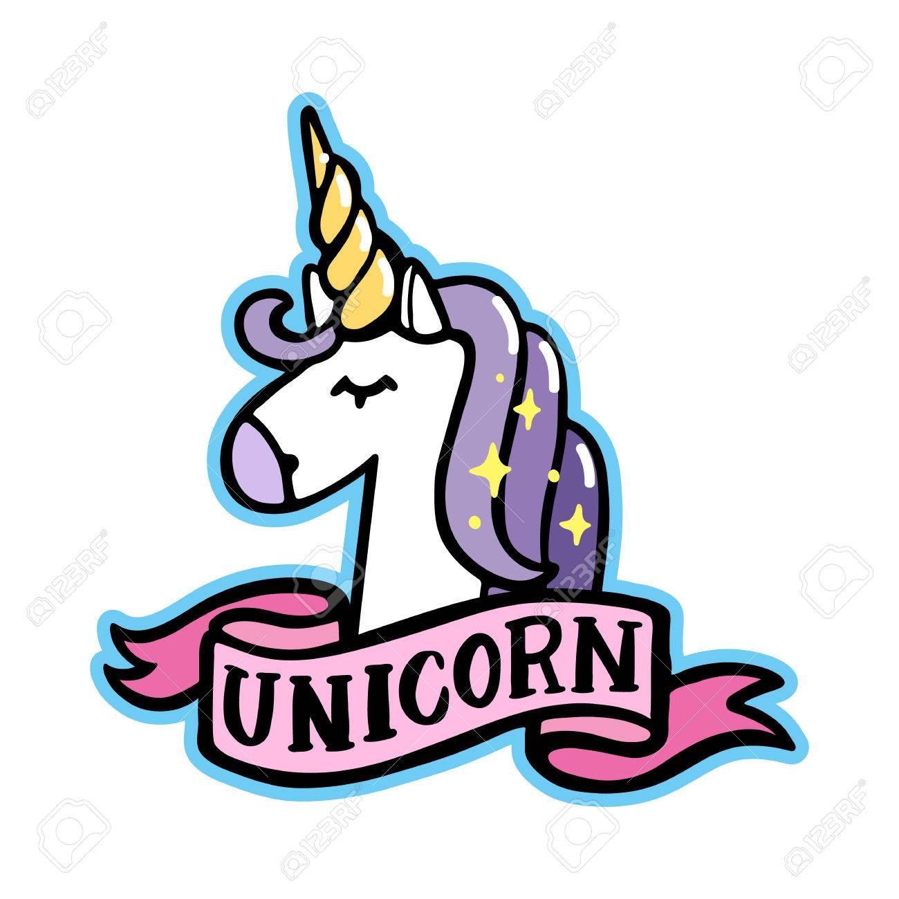 Vettoriale Unicorno Con Nastro Rosa Su Uno Sfondo Bianco Può