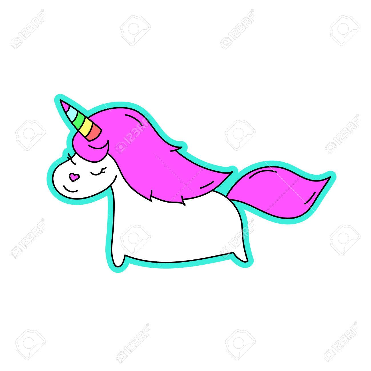 Vettoriale Unicorno Con Corno Arcobaleno Su Uno Sfondo Bianco Può