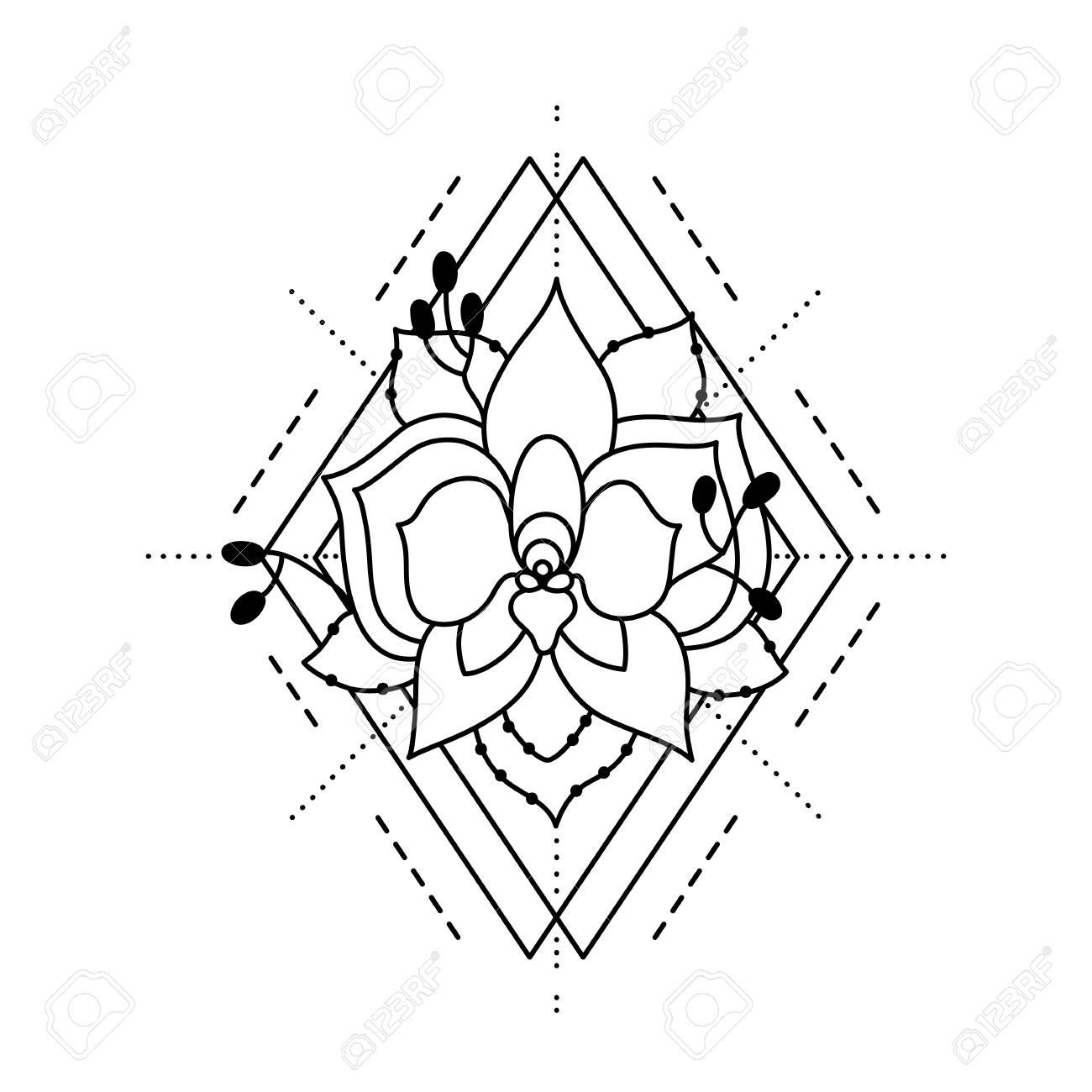 Fleur D Orchidee Peinte Dans Le Style Du Tatouage Avec Losange Et