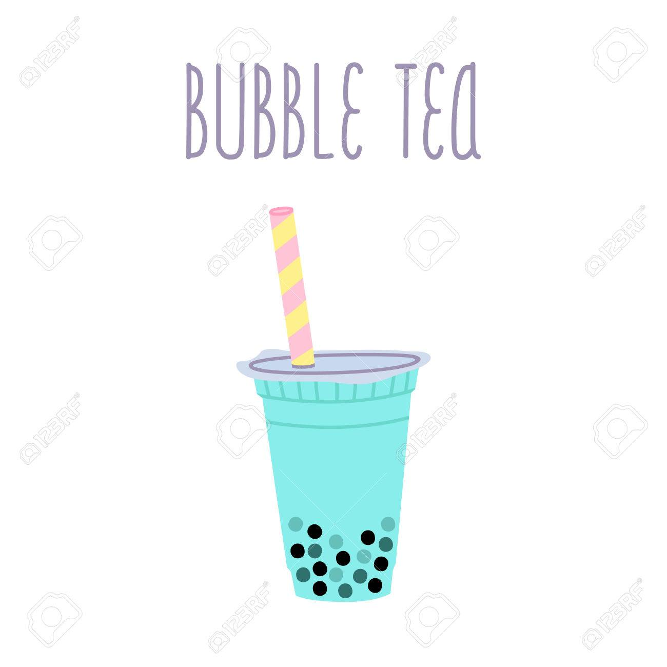泡茶やタピオカ パールと白い背景上のテキストとミルクセーキ カード