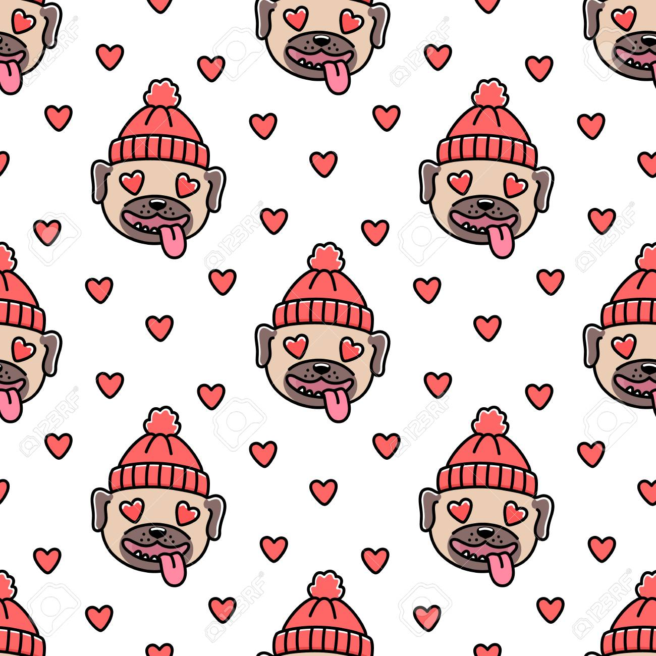Cute Pattern With Dog Breed Pug In Red Knitted Hat. Royalty Free ...
