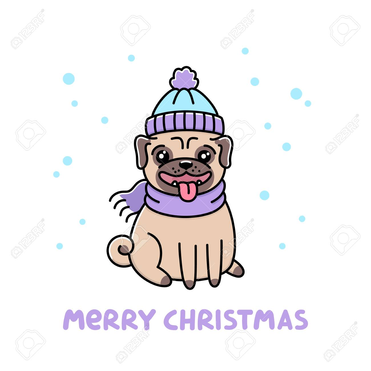 Сute Dog Breed Pug In Hat And Scarf With Snowflakes. Royalty Free ... 82804332370