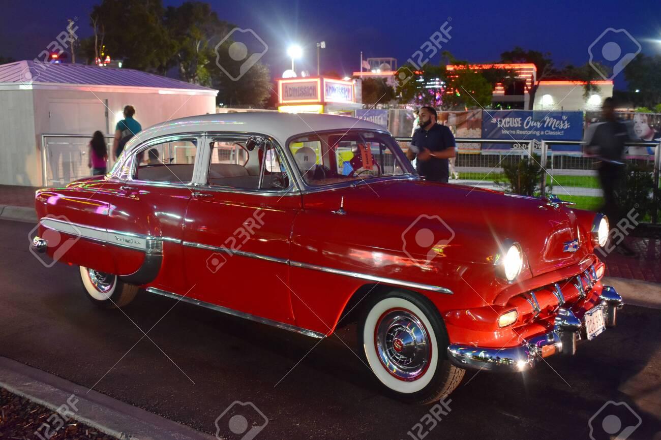 Car Shows In Florida >> Orlando Florida November 02 2018 Vintange Red Car In Saturday