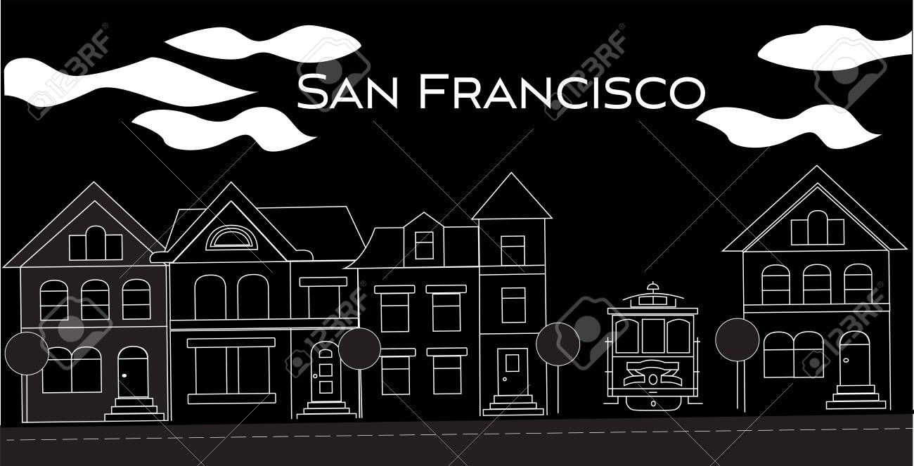 San Francisco white lettering. Vector with victorian houses and cable car on black background. Travel Postcard. - 133200488