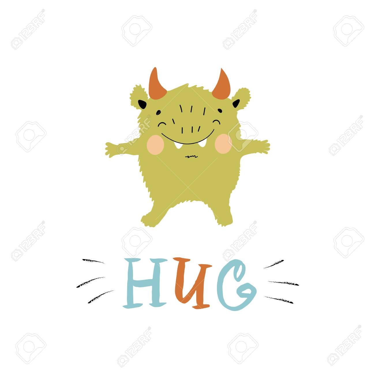 Hug Nursery Color Poster For Kids With Doodle In Scandinavian ...