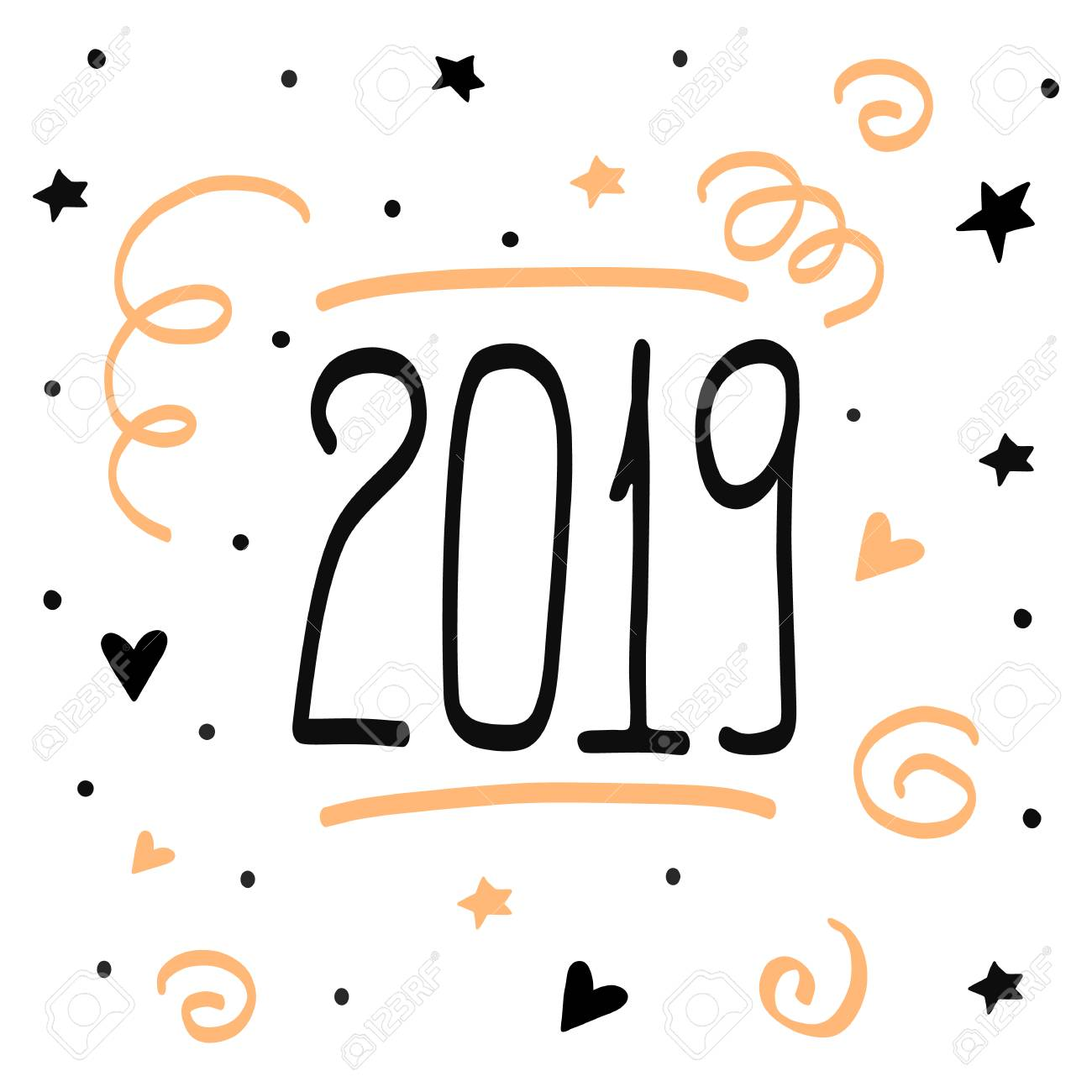 Christmas Shapes.2019 Happy New Year Handdrawn Doodle Poster Christmas Illustration