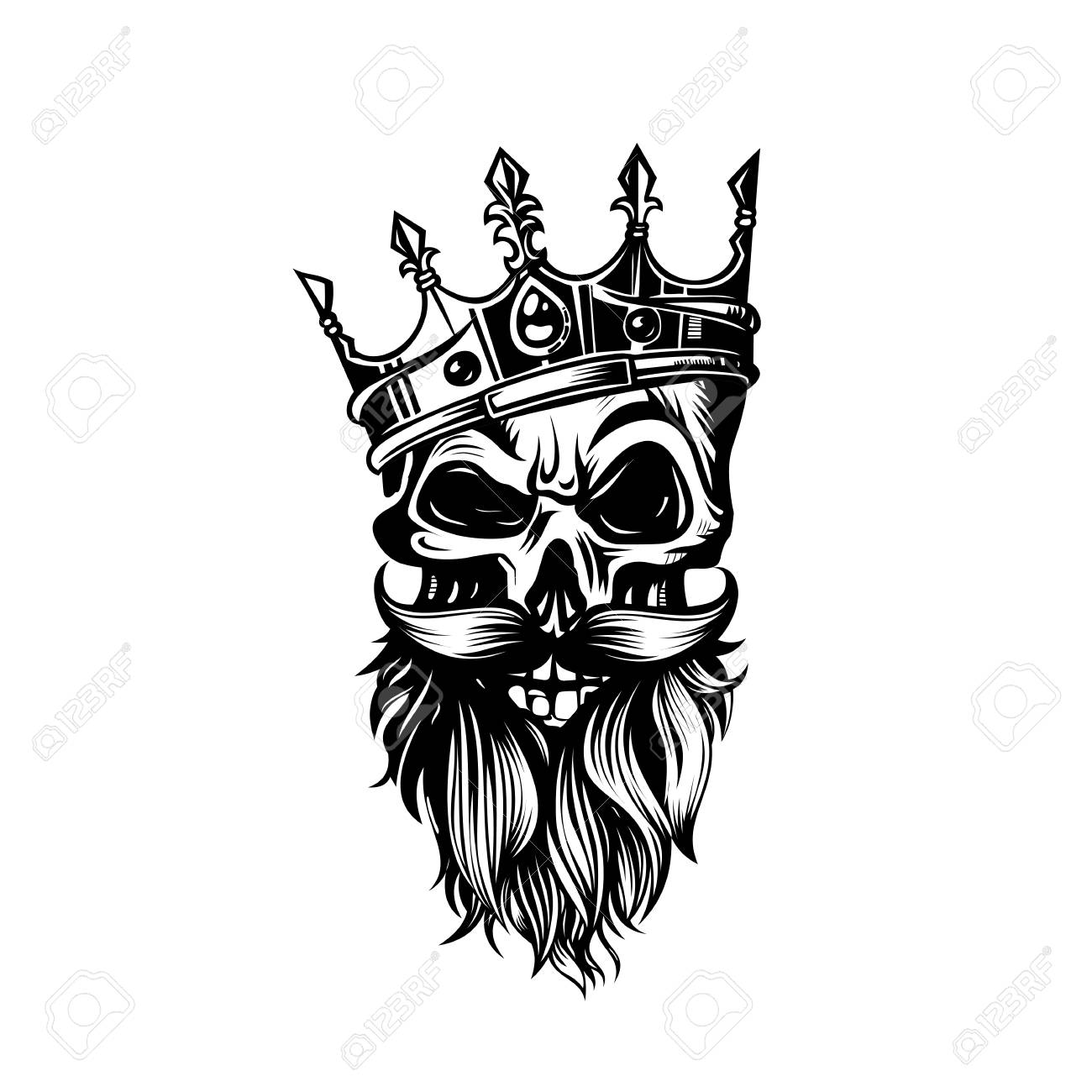 Black And White Skull In Crown With Beard Vector Illustration Stock