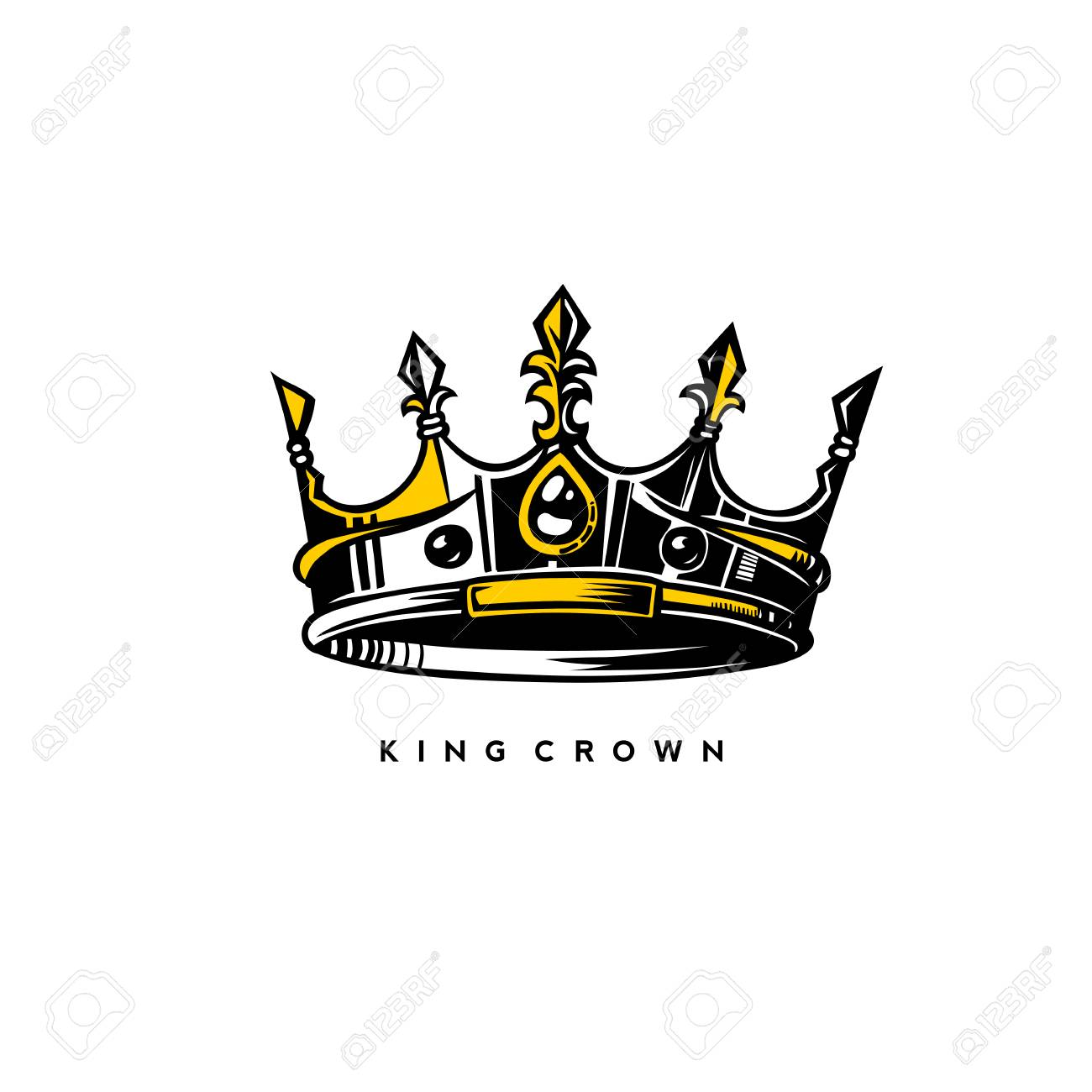 silver and gold king crown logo on white background with typography