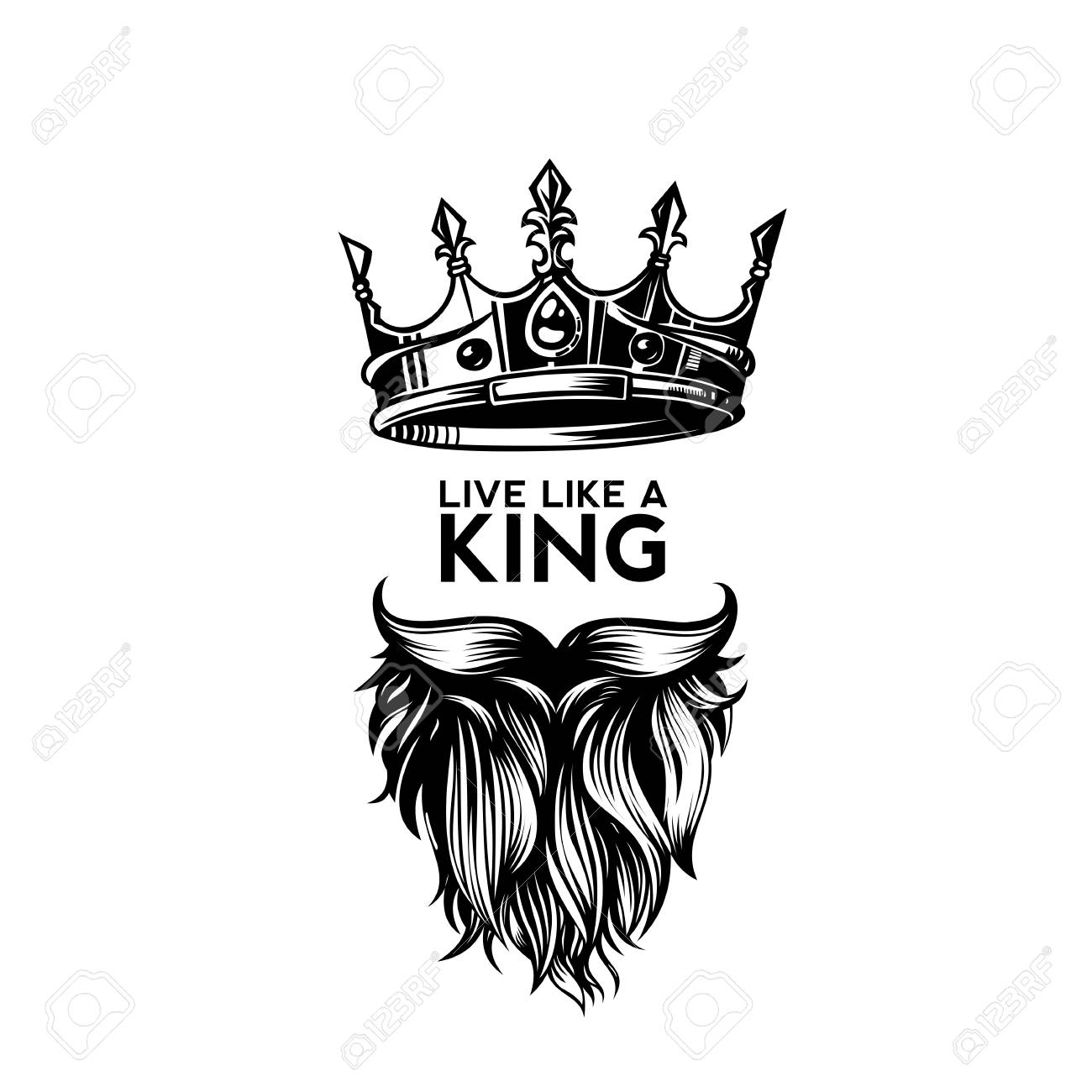 king crown moustache and beard on white background logo with rh 123rf com king crown logo vector free download king crown logo design