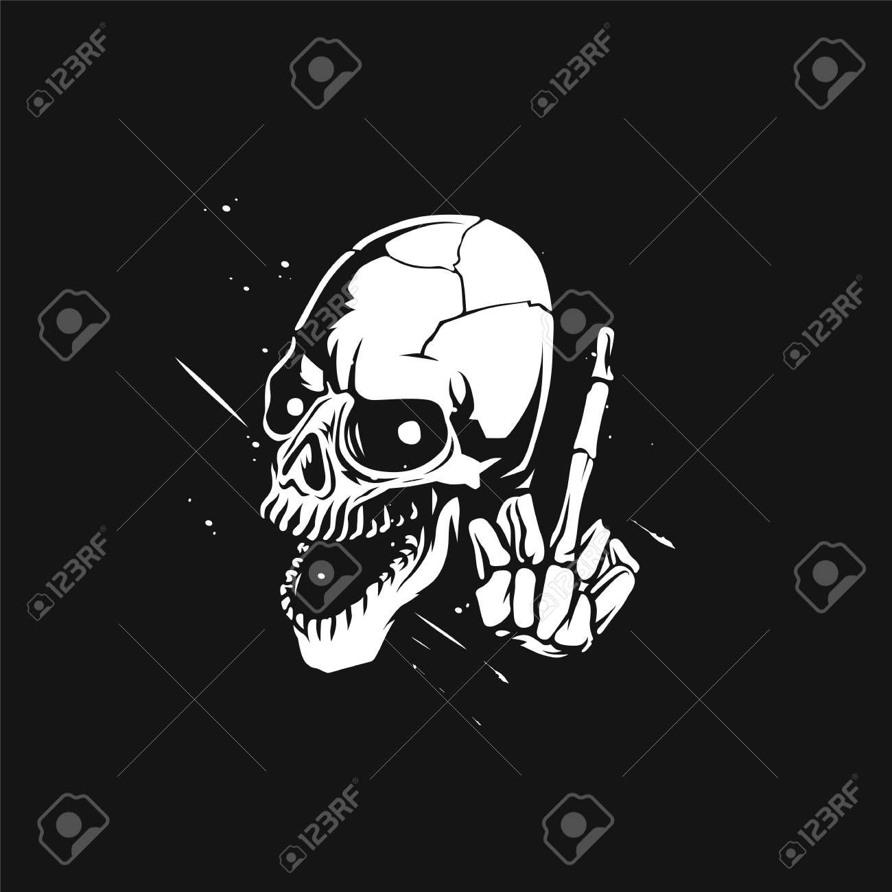 Sketch Of The Skull With Middle Finger Vector Illustration Design