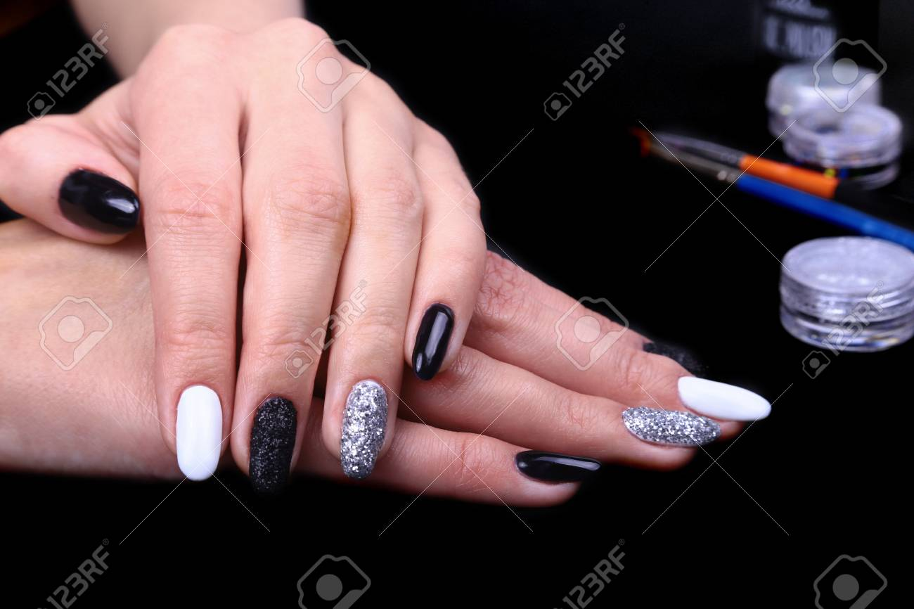 Black, White Nail Art Manicure. Holiday Style Bright Manicure ...
