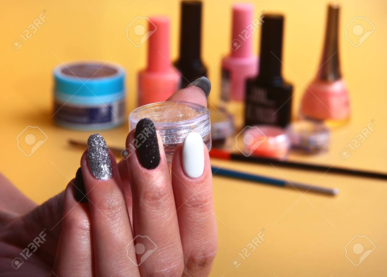 Black, White Nail Art Manicure. Holiday Style Bright Manicure ...