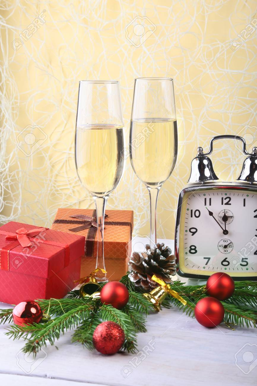New Year Or Christmas Decorations With Glasses Wine Gift Boxes