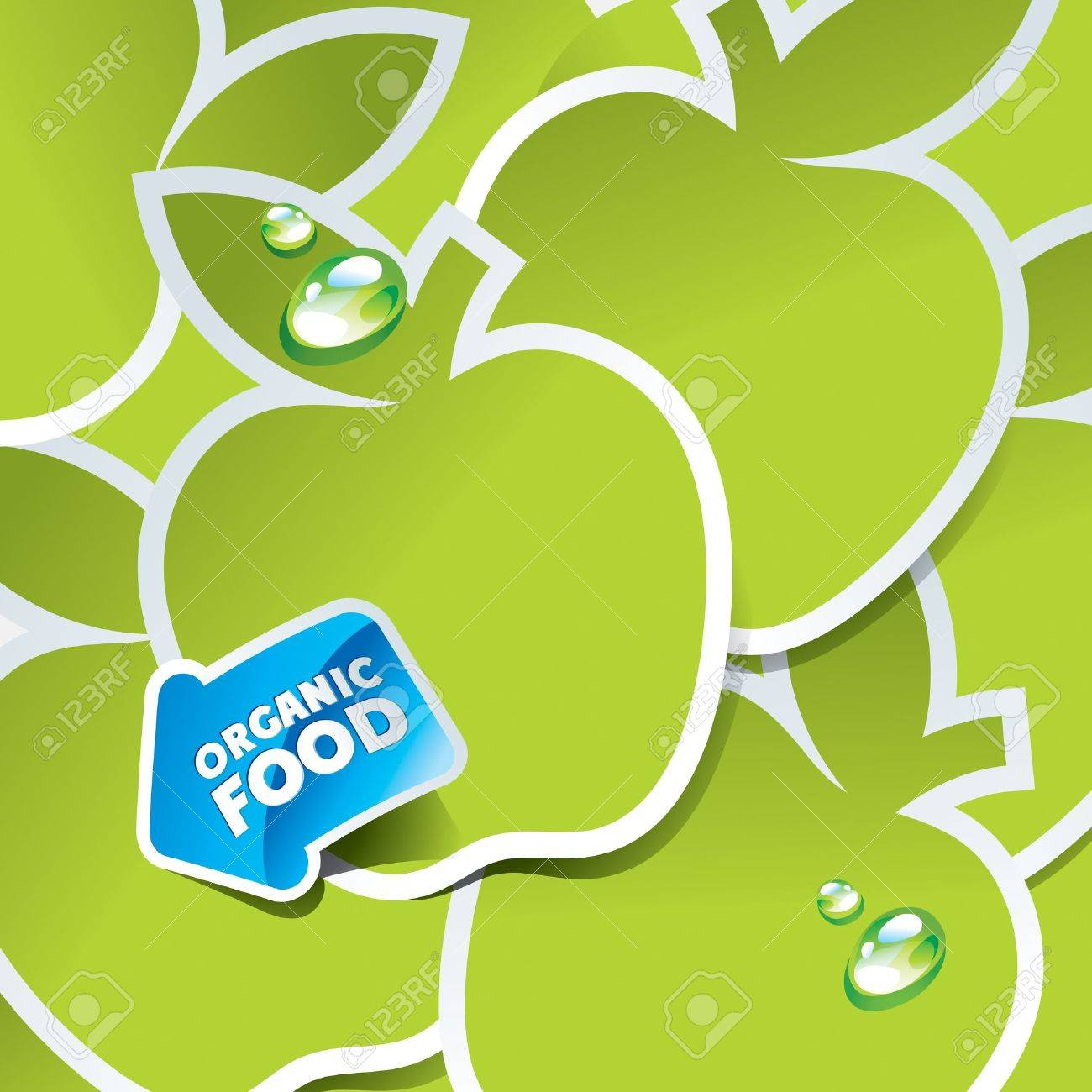 Background from green apples with an arrow by organic food. Vector illustration. Stock Vector - 10593810