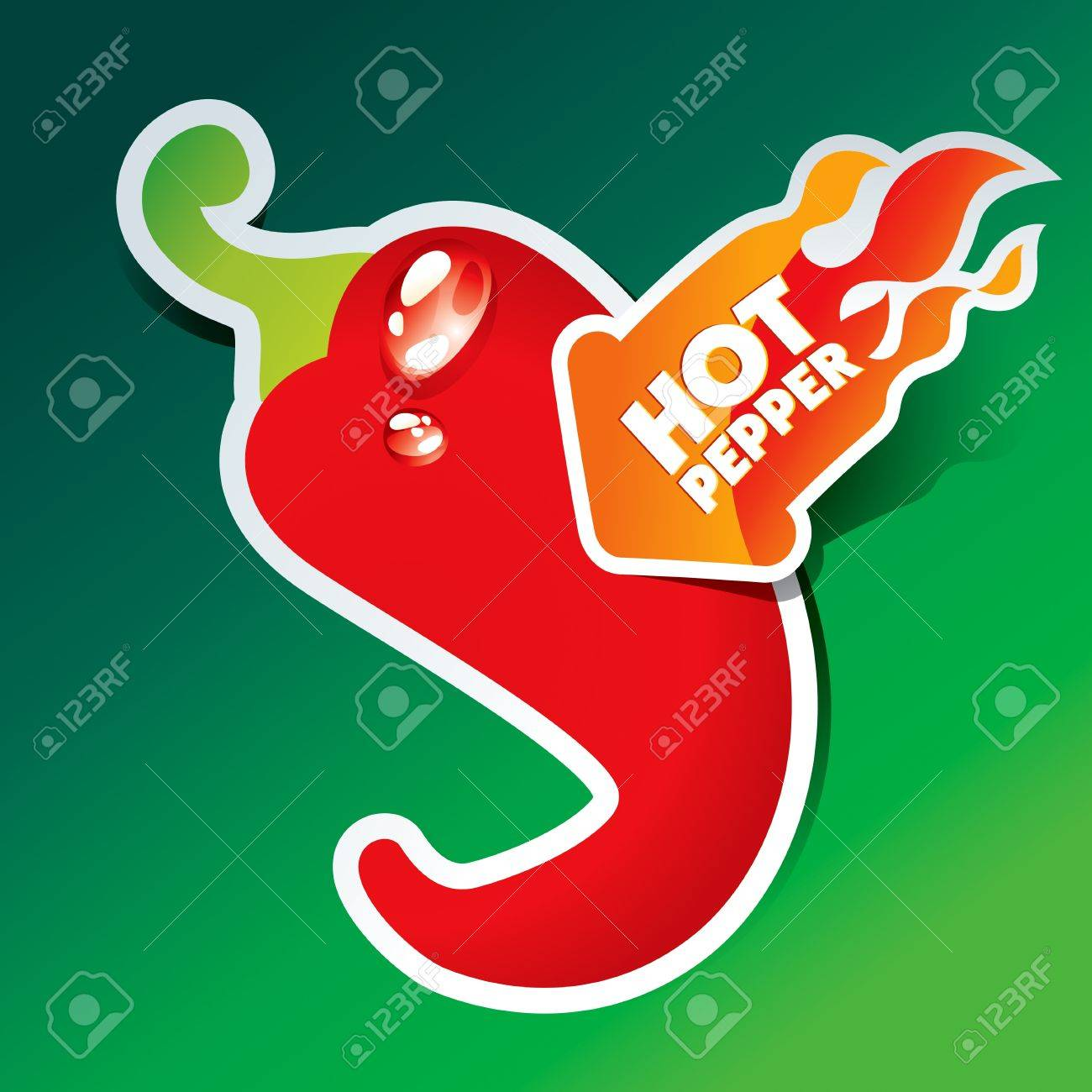 Icon of red hot chili pepper with flaming arrow. Vector illustration. Stock Vector - 10593832
