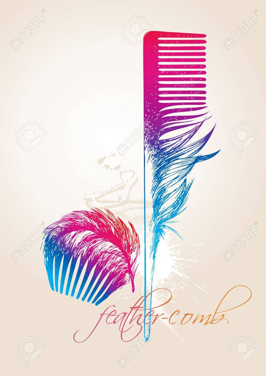 Colorful combs in the form of the bird's feathers on the beige background. Vector illustration. Stock Vector - 10627857
