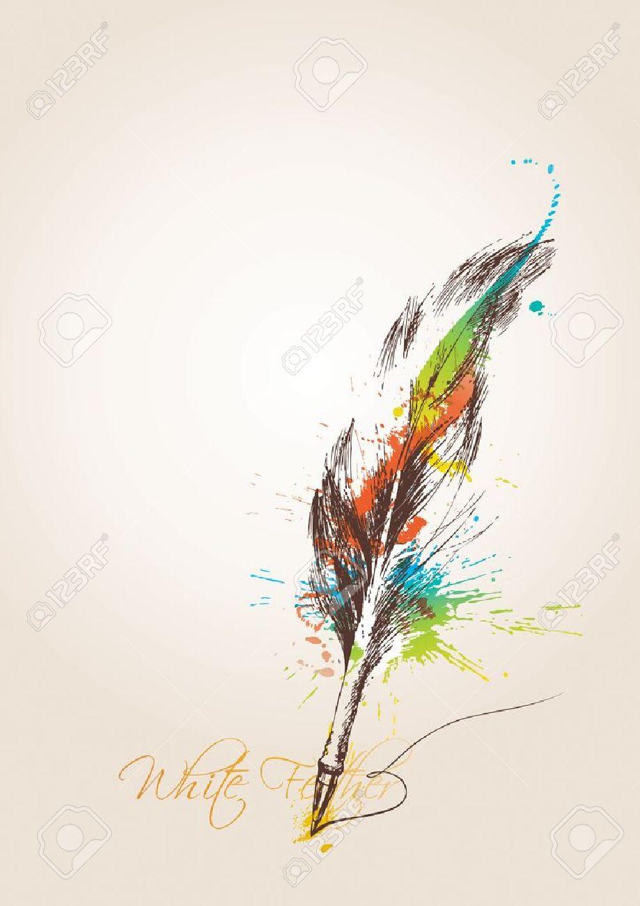 ペンはベージュの背景に鳥の羽の形でベクトル イラストのイラスト