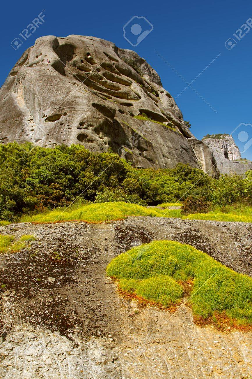 Beautiful landscape with a mountain cliff. Mountains of Meteora, Greece. Stock Photo - 10627880