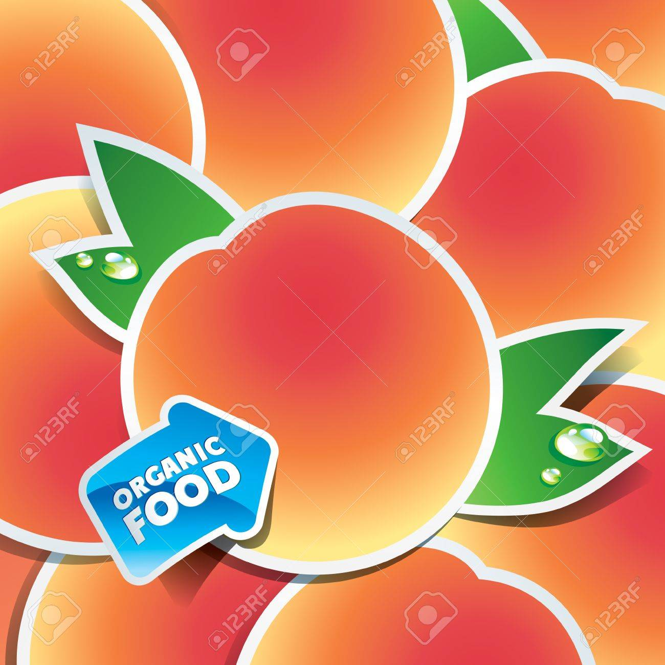 Background from apricots with an arrow by organic food. Vector illustration. Stock Vector - 10647724