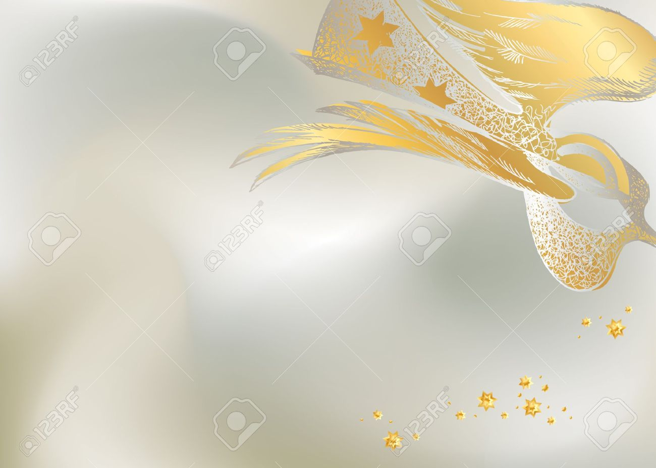 Silver Christmas background with the lacy figure of an angel. Vector illustration. Stock Vector - 10680467