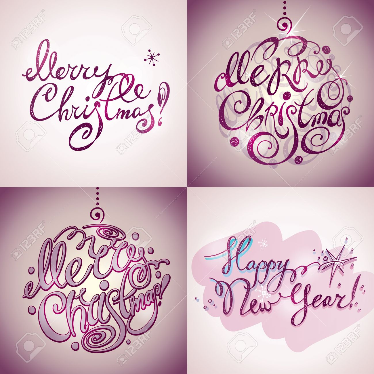 christmas card merry christmas and happy new year lettering by four styles of a writing