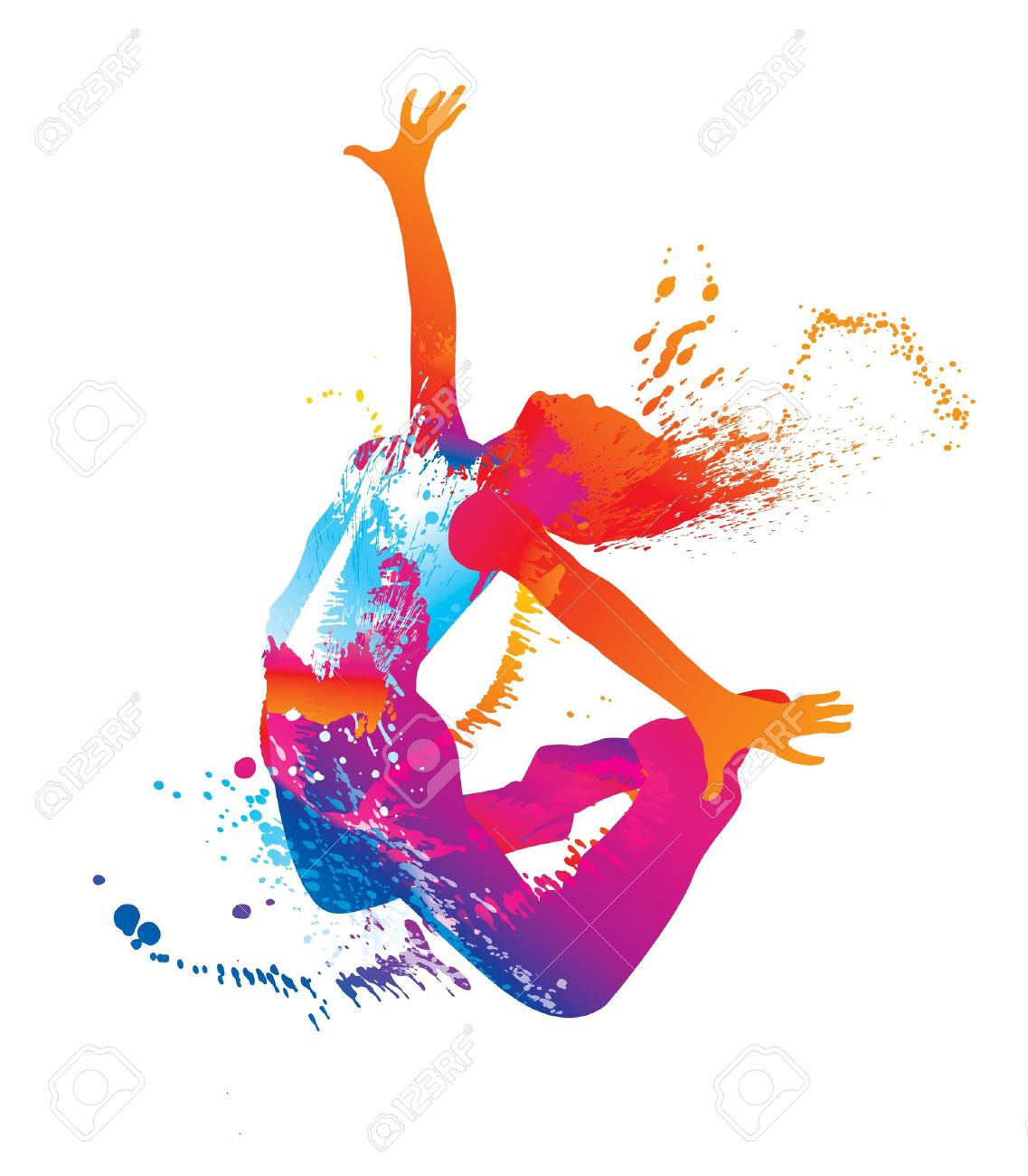 The dancing girl with colorful spots and splashes on white background. Vector illustration. - 10737673