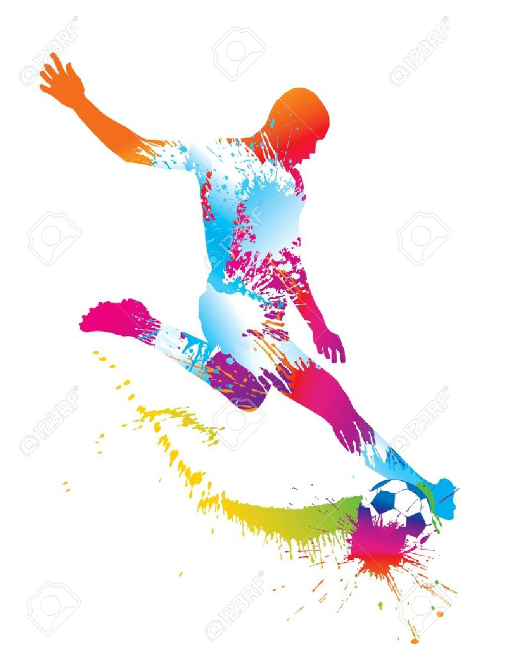 Soccer player kicks the ball. Vector illustration. - 10737724