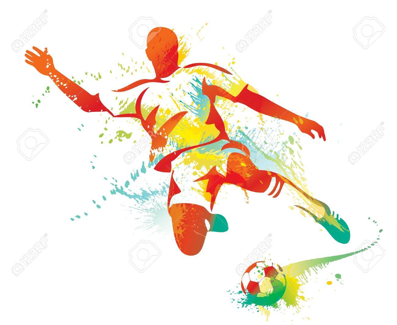 Soccer player kicks the ball. Vector illustration. - 10737678