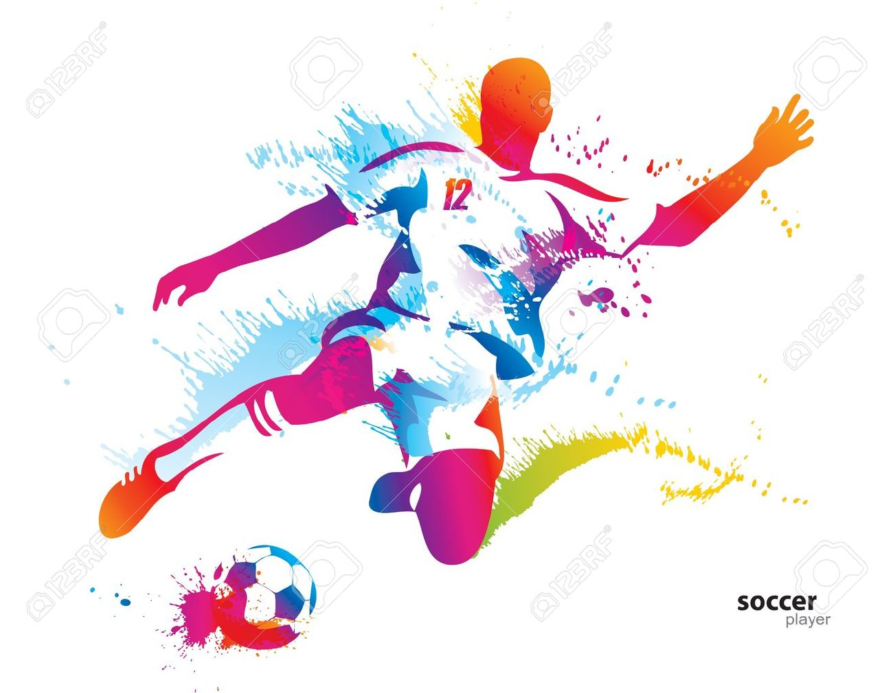 Soccer player kicks the ball. The colorful vector illustration with drops and spray. Stock Vector - 10737675