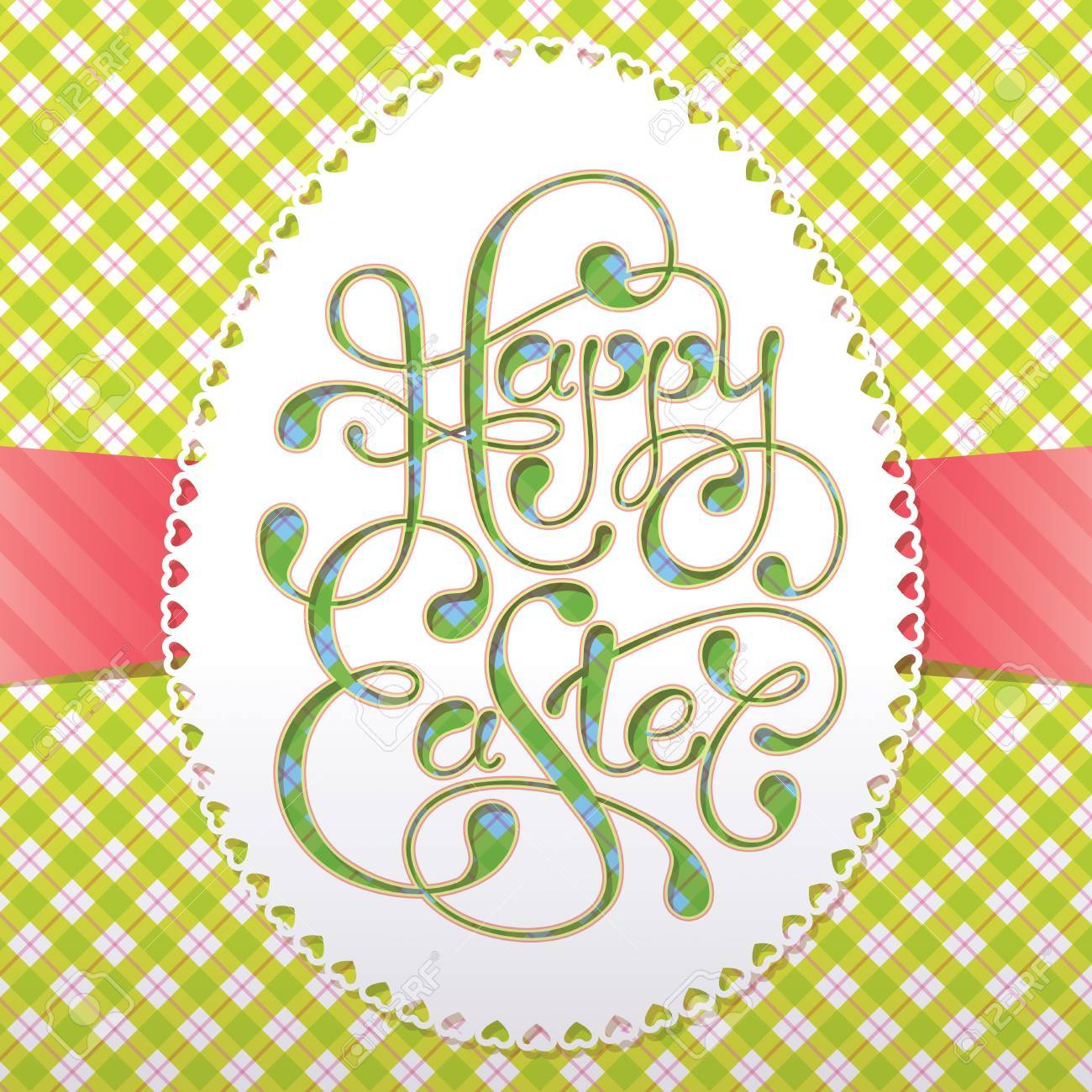 Vintage Easter card with calligraphic inscription and lacy paper eggs. Vector illustration. Stock Vector - 13029717