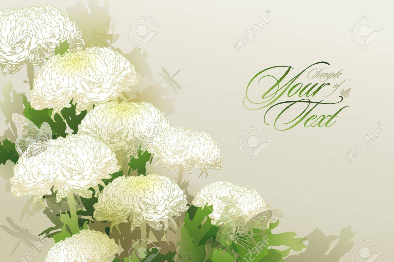 Card with the bouquet of chrysanthemums on a beige background Stock Vector - 15420882