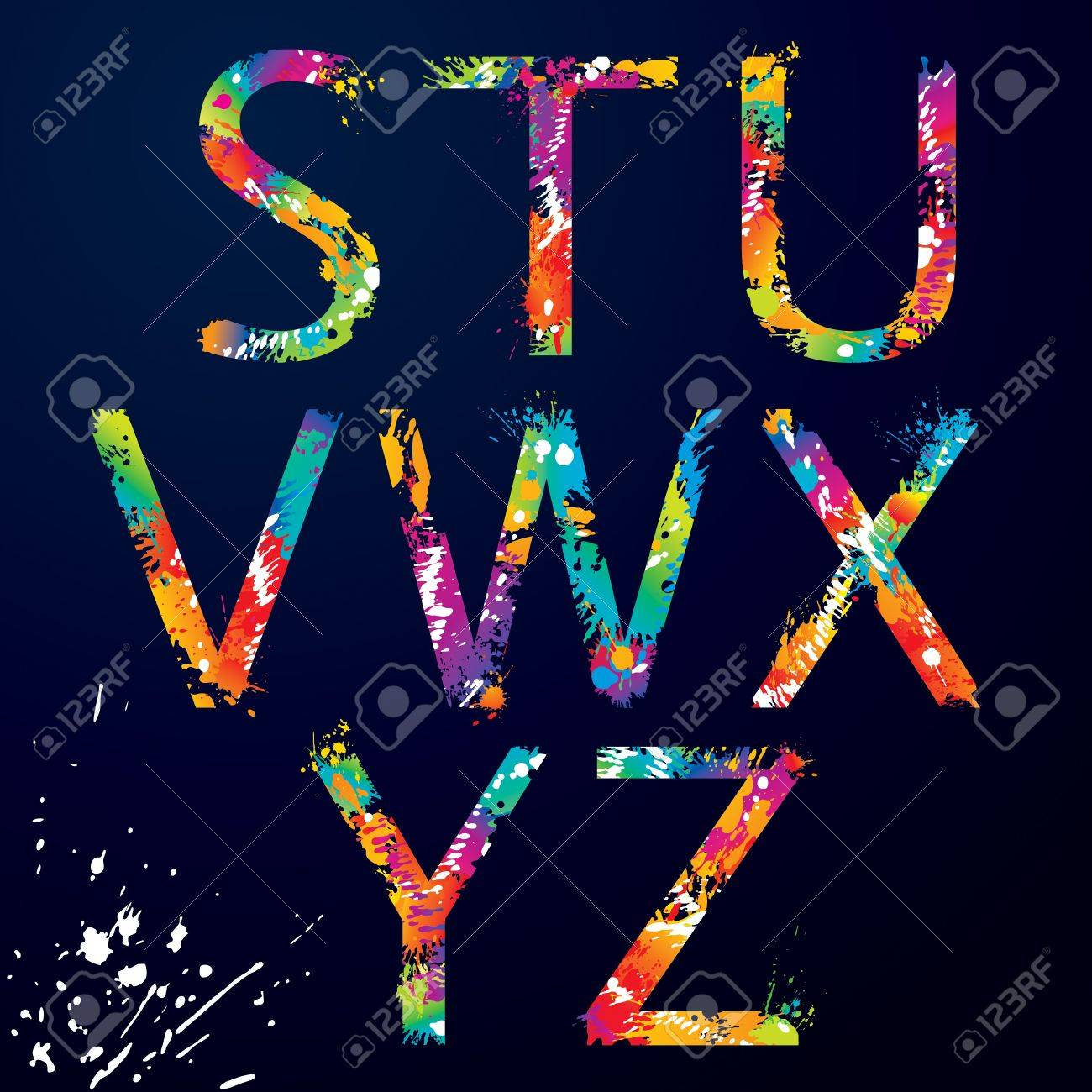 Font - Colorful letters with drops and splashes from S to Z  illustration Stock Vector - 16062096