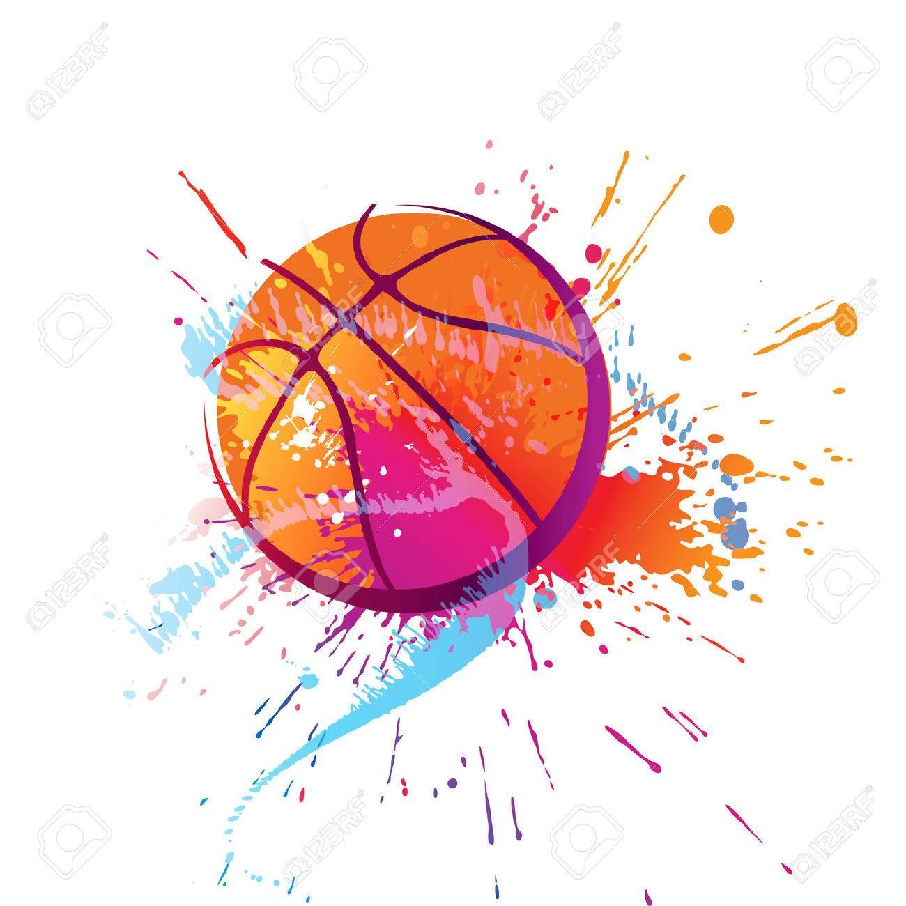 カラフルなバスケット ボールのスポットと白い背景の上にスプレー ベクトル イラスト のイラスト素材 ベクタ Image