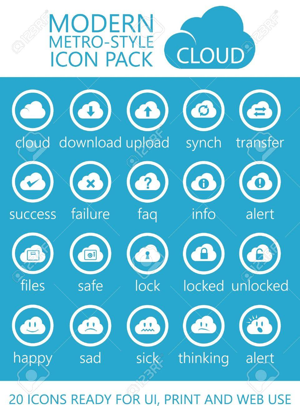 20 Modern Metro-Style Cloud Computing Icons of UI, Print and Web Use Stock Vector - 21659208
