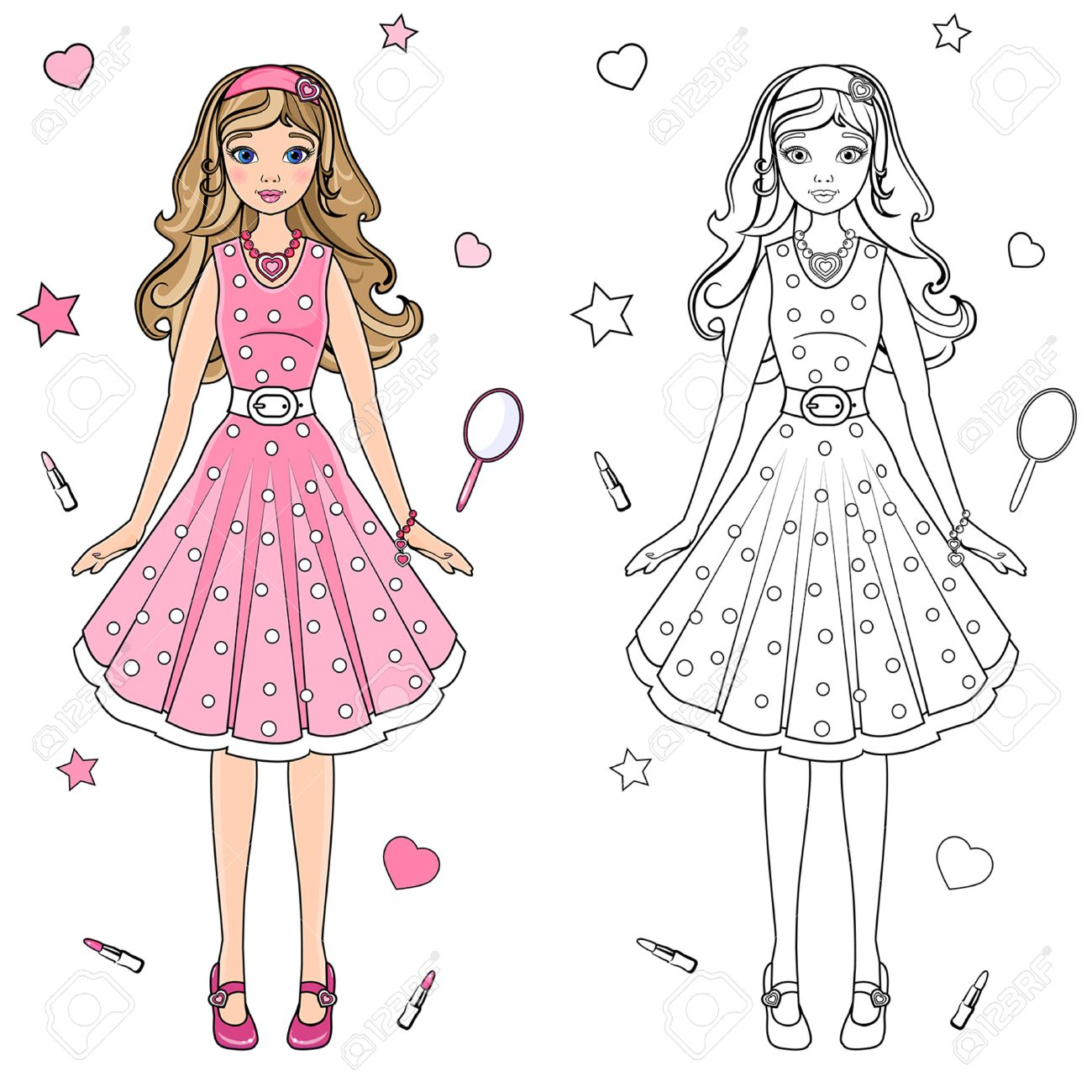 Coloring Book Doll In A Pink Dress Stock Vector