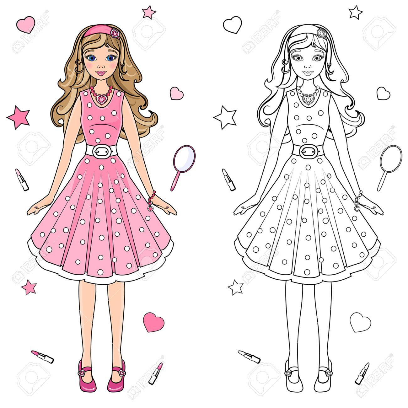 Muñeca De Libro Para Colorear Con Un Vestido Rosa