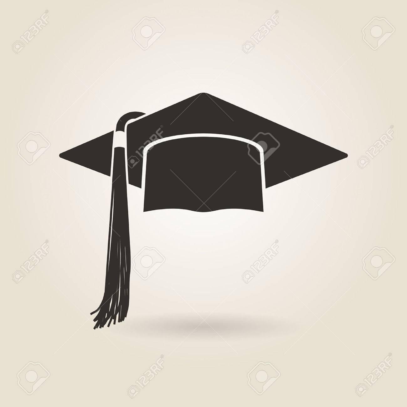 graduate cap icon on a light background - 35803021