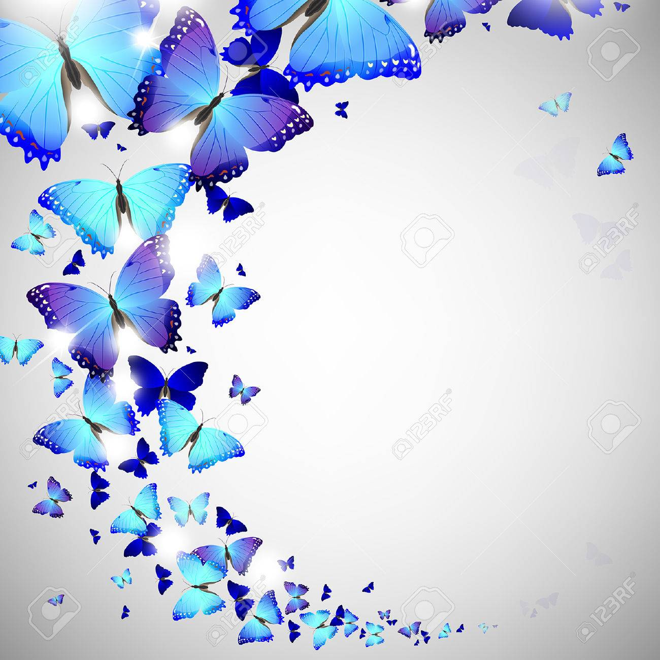 Blue Butterfly On A Light Background Royalty Free Cliparts Vectors