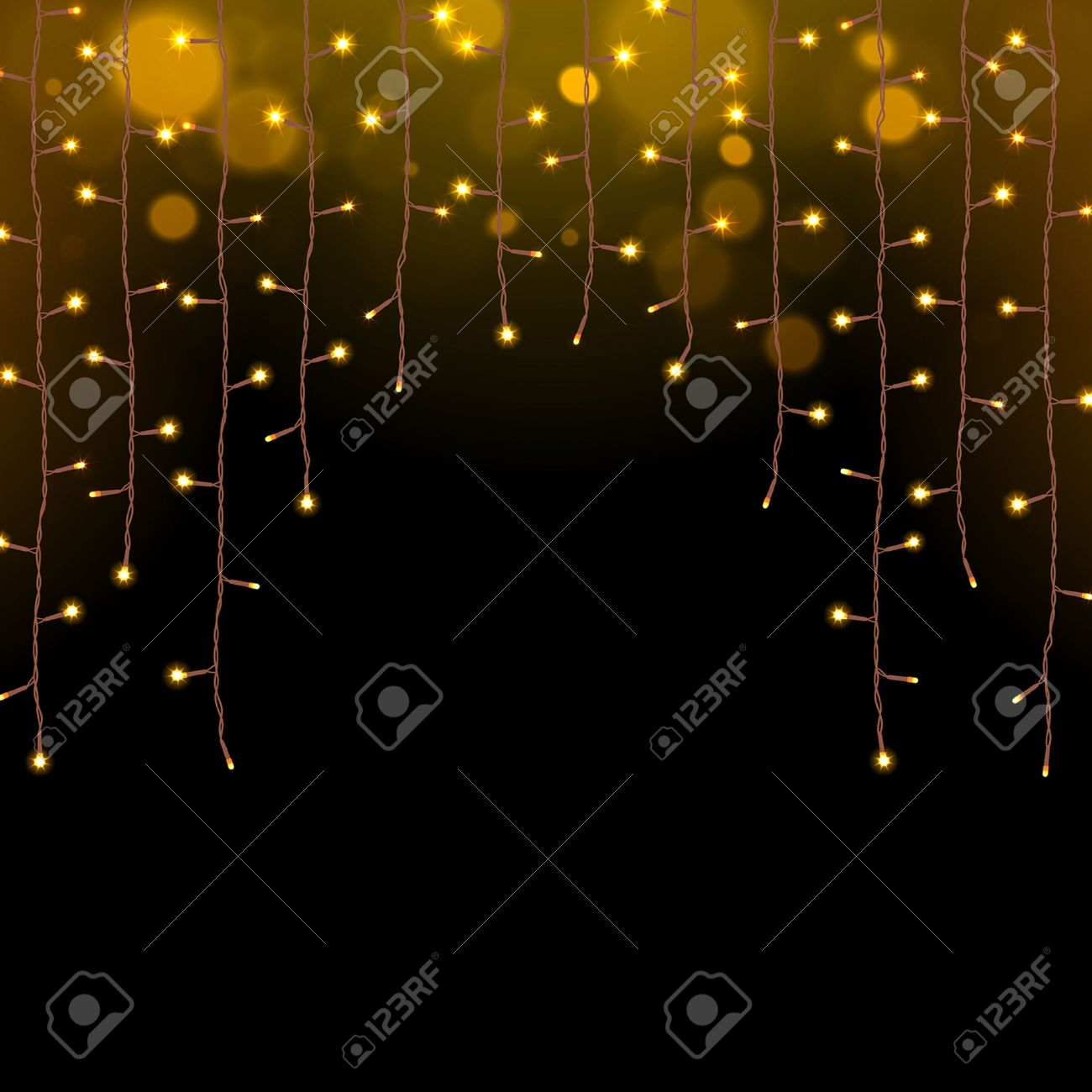 Glowing Christmas Lights Garland On A Dark Background Stock Vector