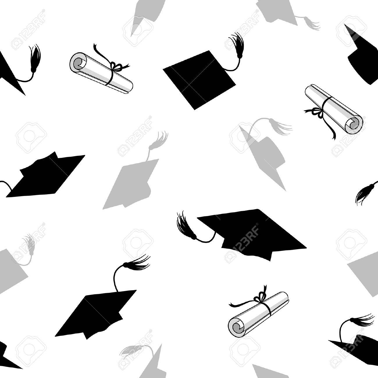 seamless pattern with graduation caps and diplomas - 54025343