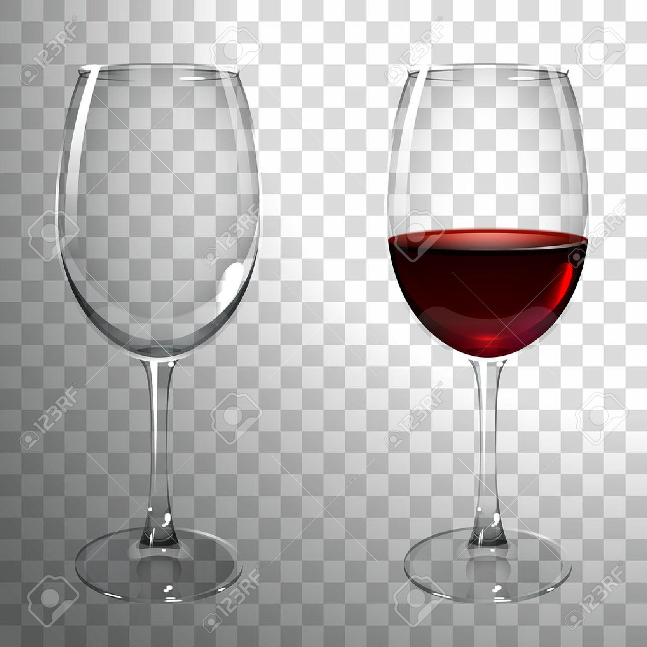 glass of red wine on a transparent background - 60175029