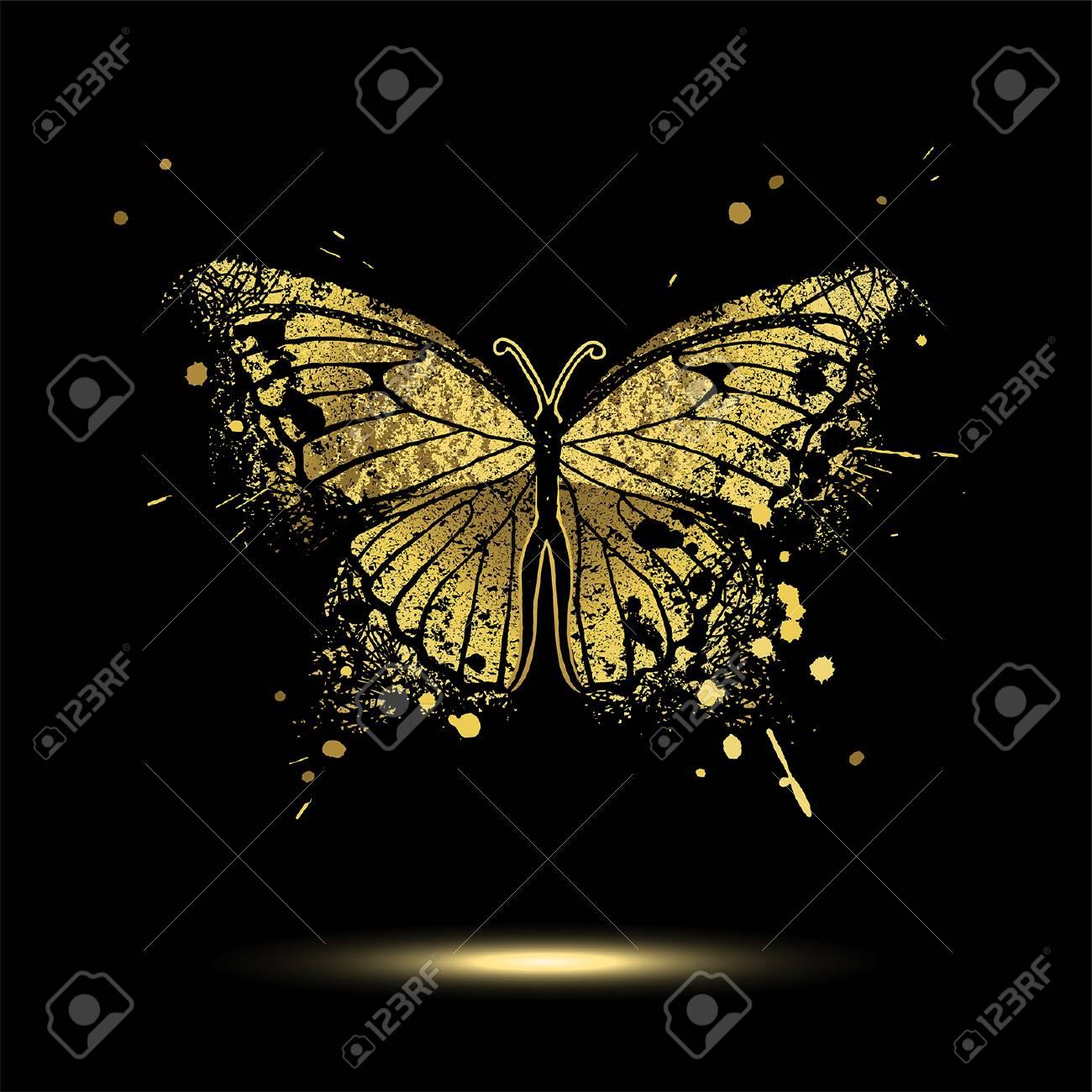 Decorative golden butterfly on a black background - 90082540