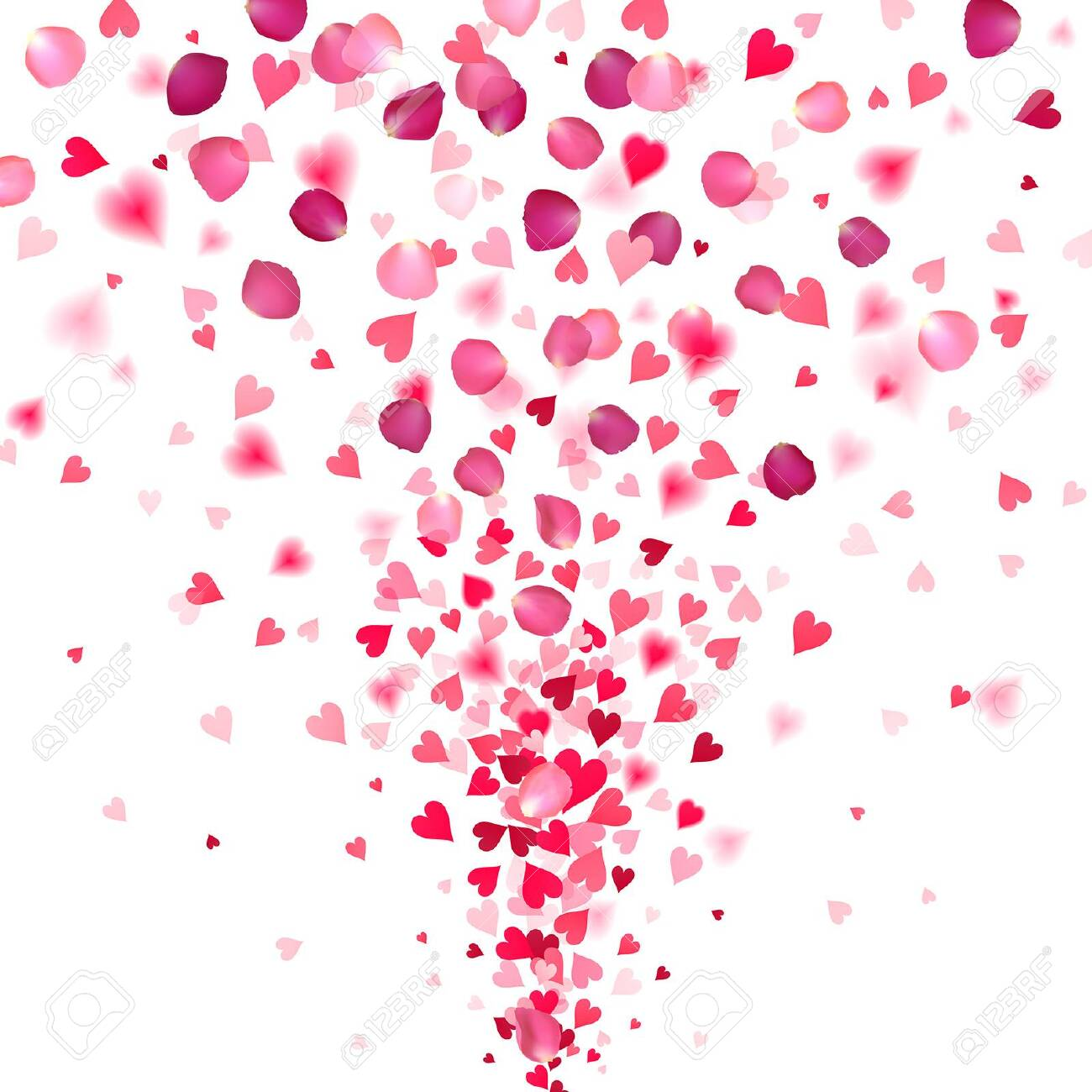 explosion of confetti from red hearts and rose petals on a white background - 137783700