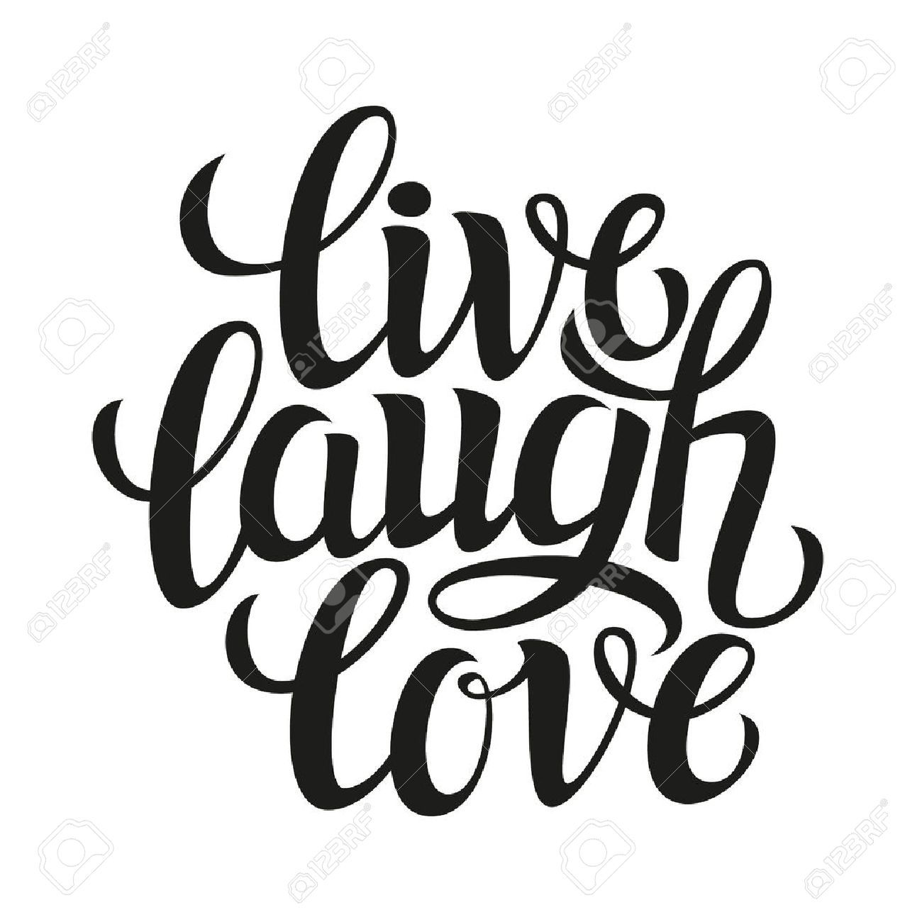 Live Laugh Love Quotes Hand Drawn Typography Poster.inspirational Quote 'live Laugh