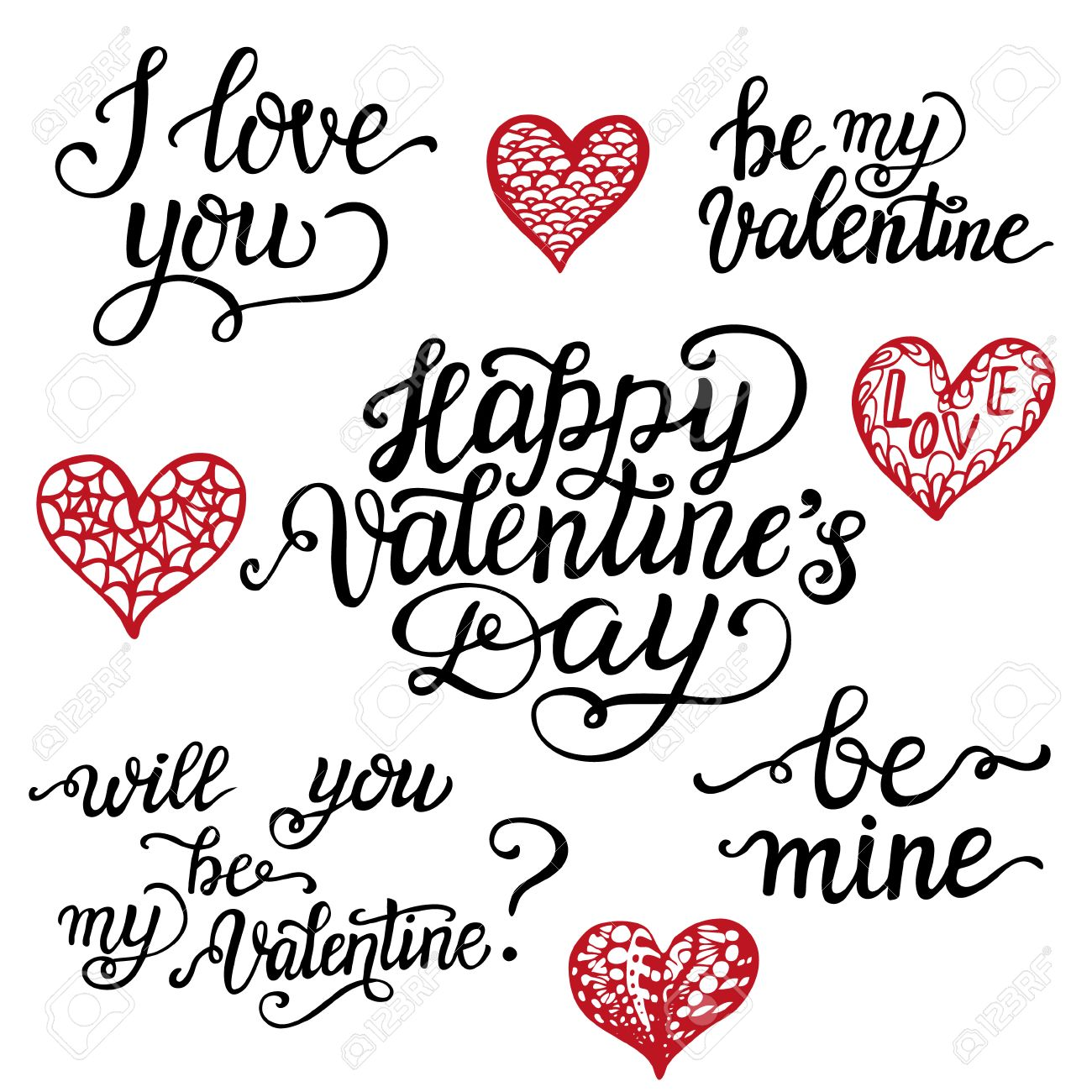 Valentine Day lettering set. Romantic quotes I love you, Happy..