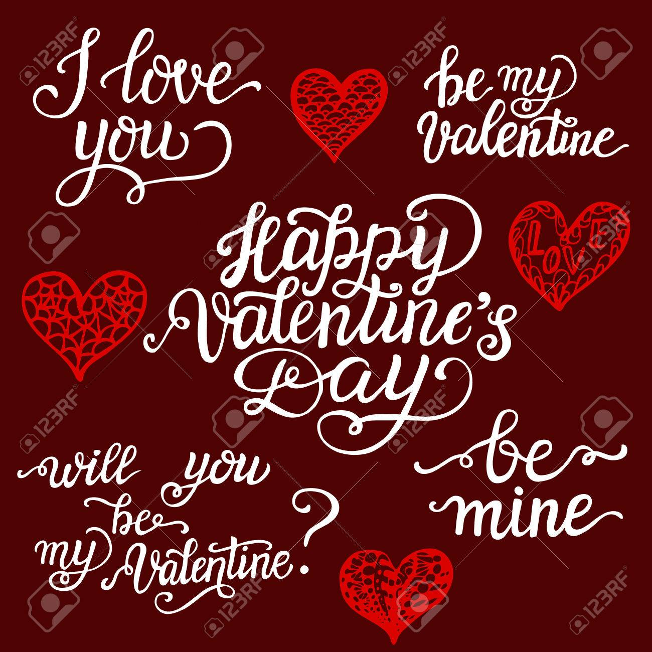 Valentine Day Lettering Set Romantic Quotes I Love You Happy Royalty Free Cliparts Vectors And Stock Illustration Image 50636084
