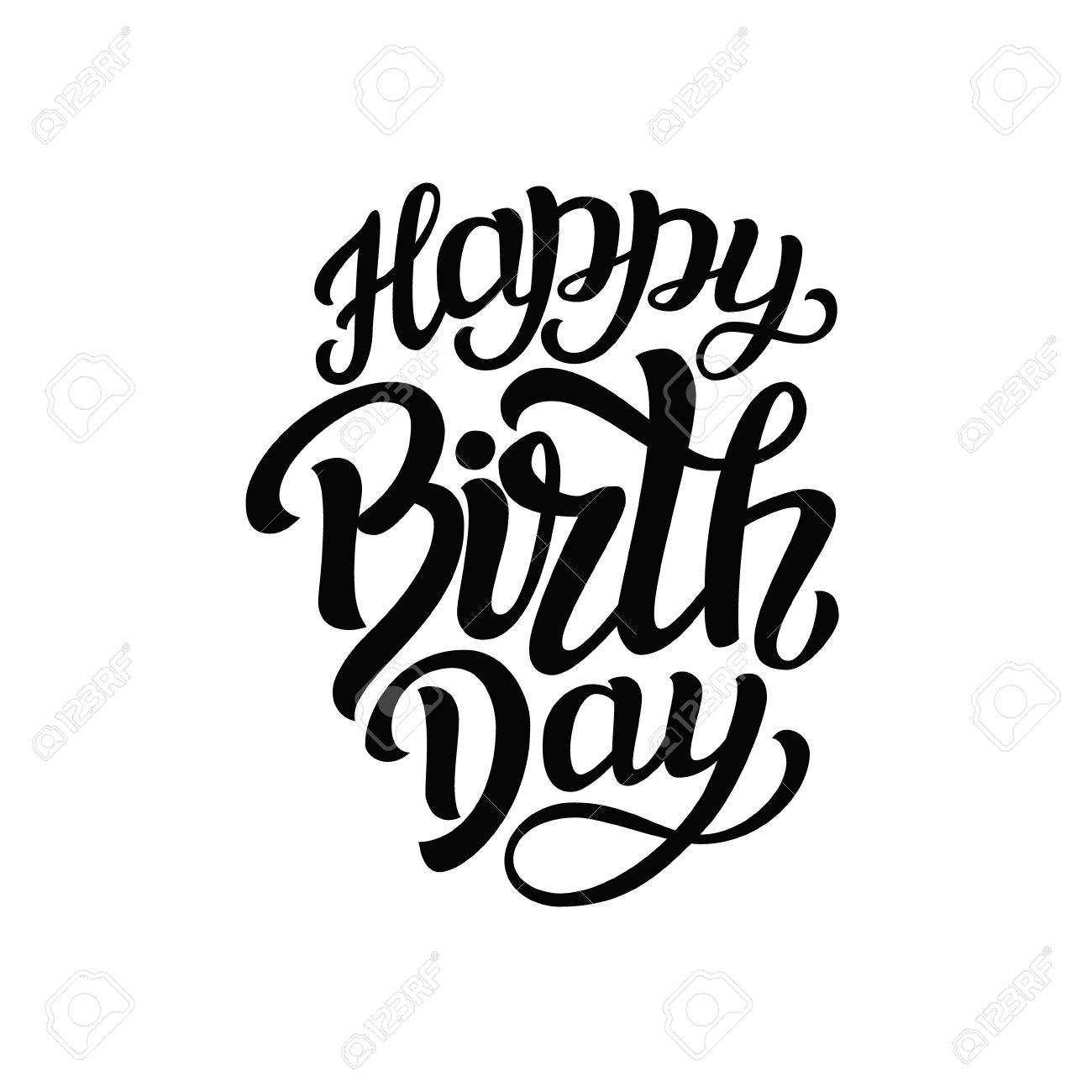 happy birthday to you hand lettering typography template isolated