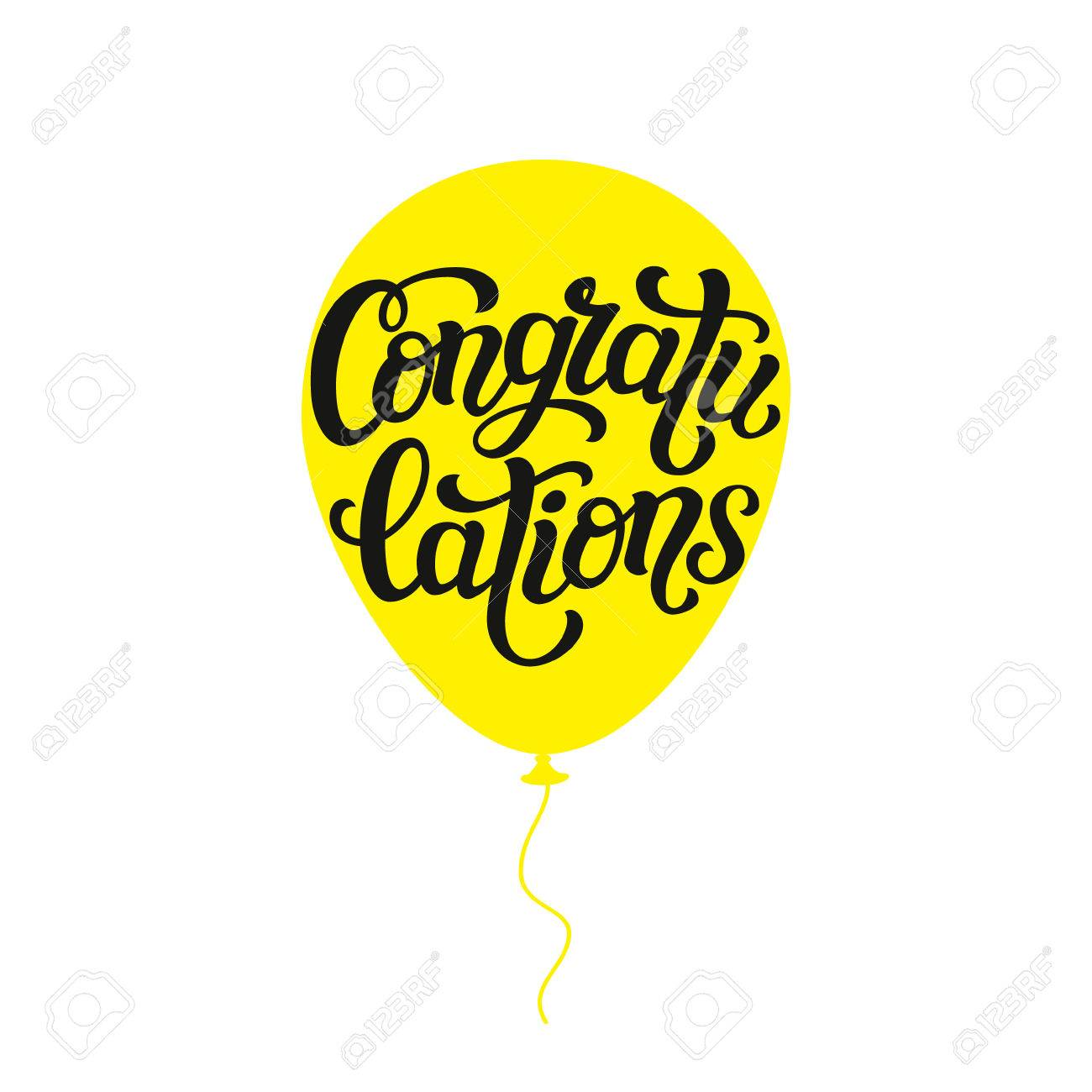 Congratulations Hand Lettering Typography Word On Air Balloon