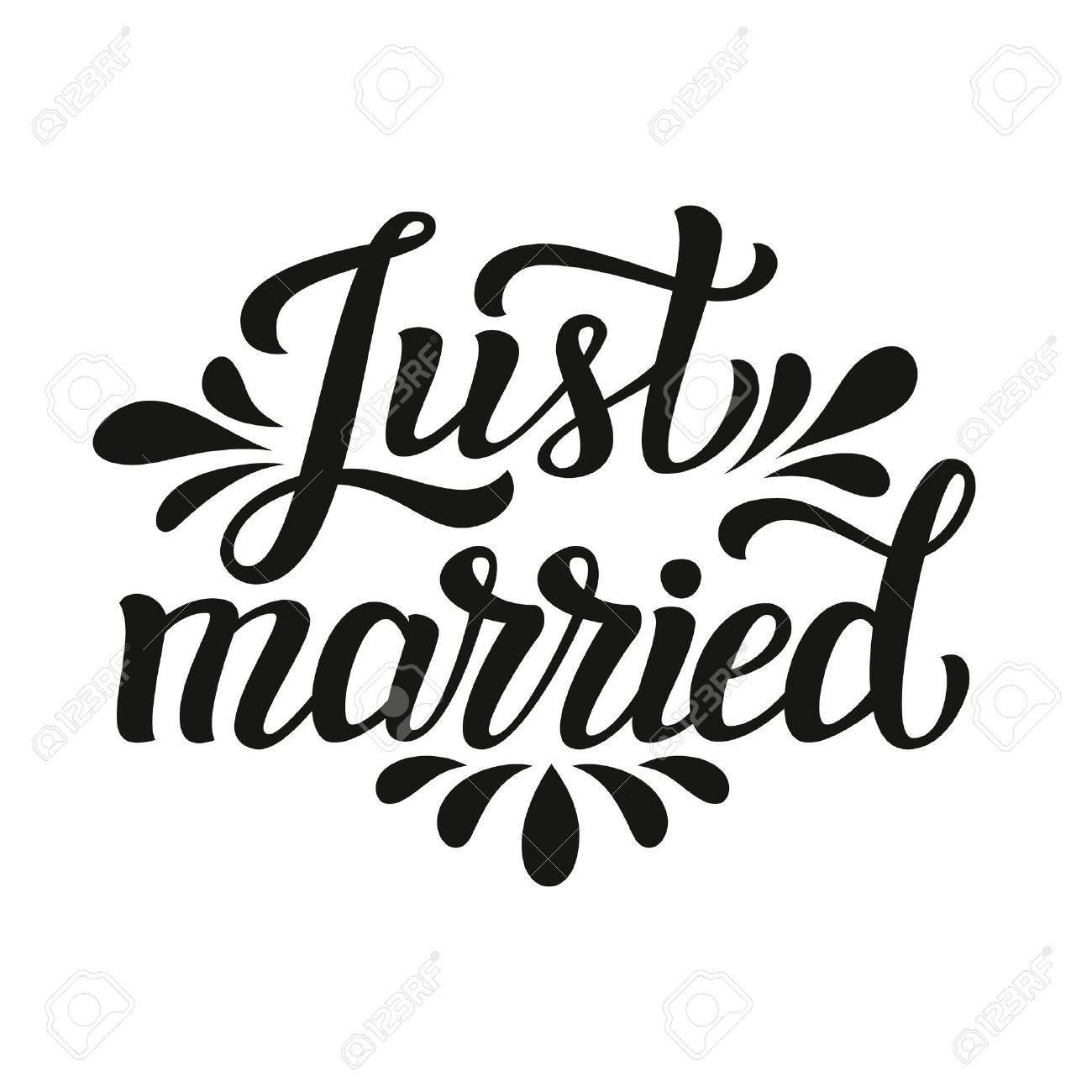 Frisch Verheiratet. Handbeschriftung Typografie Text. Romantische Zitat.  Für Hochzeit, Familie Oder Wohndesign