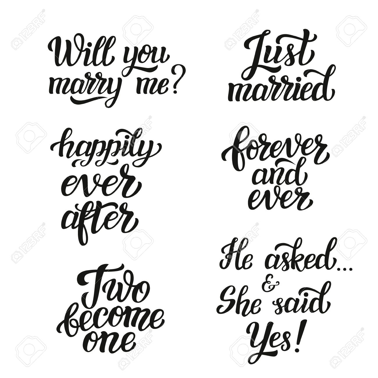 Hand lettering typography wedding set. Romantic quotes. Will..